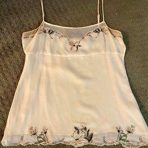 BCBG Max Azria Cream Embroidered Camisole